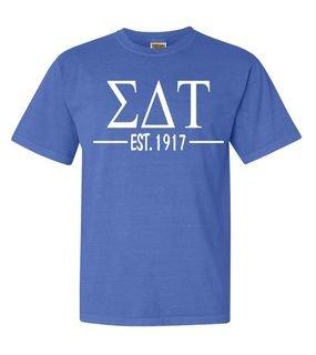 Sigma Delta Tau Custom Greek Lettered Short Sleeve T-Shirt - Comfort Colors