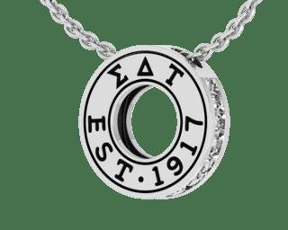 Sigma Delta Tau Eternity Silver Charm Lavalier