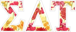 "Sigma Delta Tau Floral Greek Letter Sticker - 2.5"" Tall"
