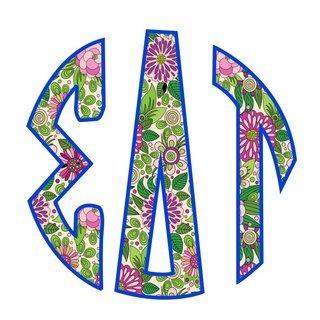 "Sigma Delta Tau Floral Greek Monogram Sticker - 3"" Tall"