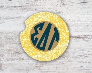 Sigma Delta Tau Floral Monogram Sandstone Car Cup Holder Coaster