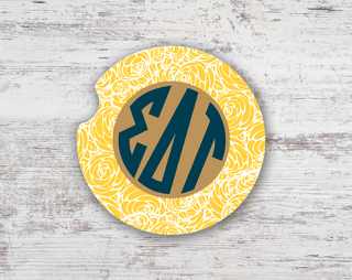 Sigma Delta Tau Floral Monogram Sandstone Car Cup Holder Coaster