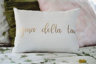 Sigma Delta Tau Gold Imprint Throw Pillow