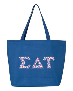 Sigma Delta Tau Greek Letter Zipper Tote