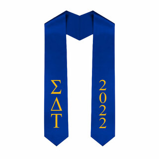 Sigma Delta Tau Greek Lettered Graduation Sash Stole With Year - Best Value