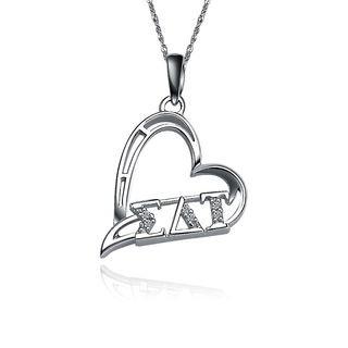 Sigma Delta Tau Heart Silver Lavalier