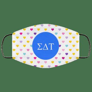 Sigma Delta Tau Hearts Face Mask