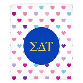 Sigma Delta Tau Hearts Fleece Blanket