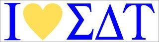 Sigma Delta Tau I Love Bumper Sticker