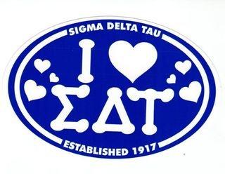 Sigma Delta Tau I Love Sorority Sticker - Oval