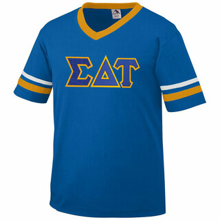 DISCOUNT-Sigma Delta Tau Jersey With Greek Applique Letters
