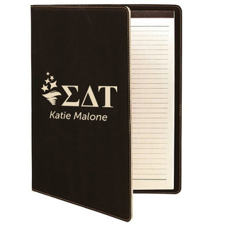 Sigma Delta Tau Leatherette Mascot Portfolio with Notepad