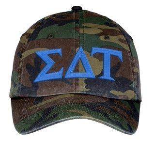 Sigma Delta Tau Lettered Camouflage Hat