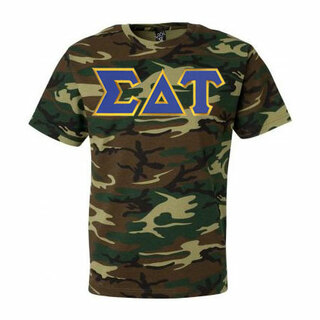 DISCOUNT-Sigma Delta Tau Lettered Camouflage T-Shirt