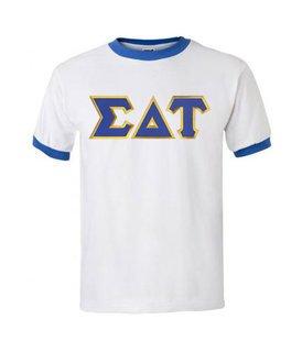 DISCOUNT-Sigma Delta Tau Lettered Ringer Shirt