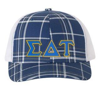 Sigma Delta Tau Plaid Snapback Trucker Hat - CLOSEOUT