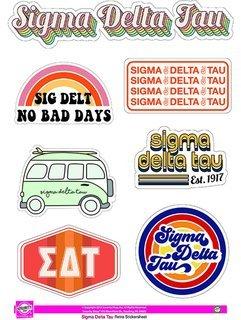 Sigma Delta Tau Retro Sticker Sheet