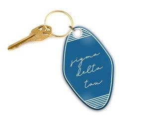 Sigma Delta Tau Script Motel Keychain