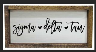 Sigma Delta Tau Script Wooden Signs