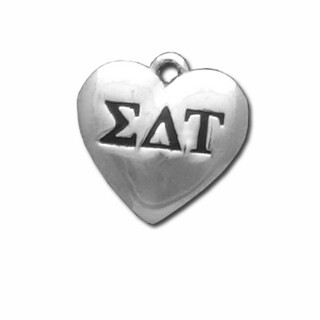 Sigma Delta Tau Silver Greek Heart Charm
