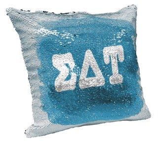 Sigma Delta Tau Sorority Flip Sequin Throw Pillow Cover