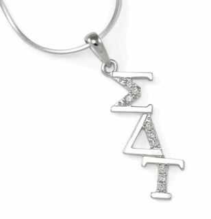 Sigma Delta Tau Sterling Silver Horizontal Lavaliere set with Lab-Created Diamonds