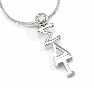 Sigma Delta Tau Sterling Silver Lavaliere Pendant with Clear Crystal