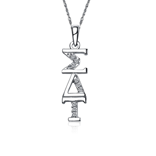 Sigma Delta Tau Sterling Silver Lavaliere set with Lab-Created Diamonds