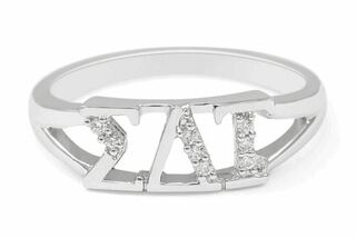 Sigma Delta Tau Sterling Silver Ring set with Lab-Created Diamonds
