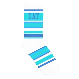 Sigma Delta Tau Striped Crew Socks