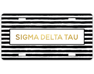 Sigma Delta Tau Striped Gold License Plate
