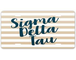 Sigma Delta Tau Striped License Plate