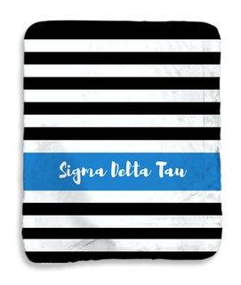 Sigma Delta Tau Stripes Sherpa Lap Blanket