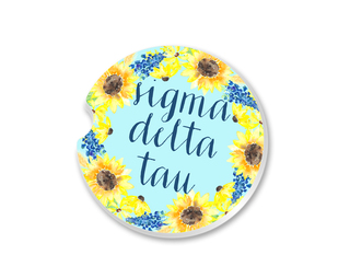 Sigma Delta Tau Sunflower Car Coaster