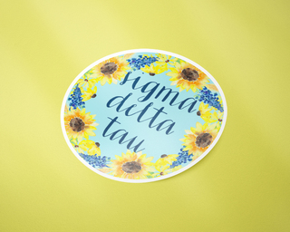 Sigma Delta Tau Sunflower Sticker Sticker