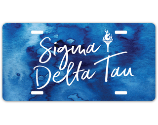Sigma Delta Tau Watercolor Script License Plate