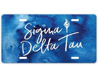 Sigma Delta Tau Watercolor Script License Plate