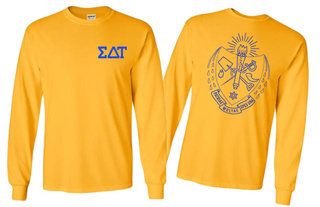 Sigma Delta Tau World Famous Crest Long Sleeve T-Shirt- MADE FAST!
