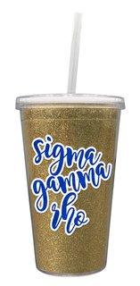 Sigma Gamma Rho 16 OZ Sorority Newport Glitter Tumbler