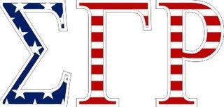"Sigma Gamma Rho American Flag Greek Letter Sticker - 2.5"" Tall"