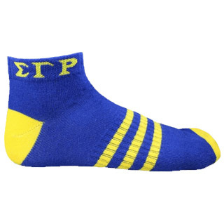 Sigma Gamma Rho Ankle Socks - Blue With Gold