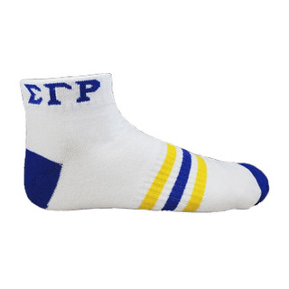 Sigma Gamma Rho Ankle Socks - White With Blue & Gold