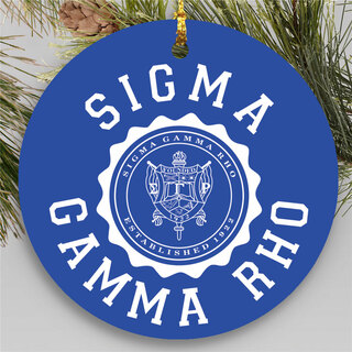 Sigma Gamma Rho Round Christmas Shield Ornament