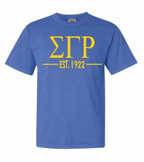 Sigma Gamma Rho Custom Greek Lettered Short Sleeve T-Shirt - Comfort Colors