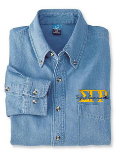 DISCOUNT-Sigma Gamma Rho Denim Shirt - Signature Emblem