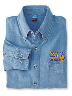 DISCOUNT-Sigma Gamma Rho Denim Shirt - Tail