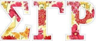 """Sigma Gamma Rho Floral Greek Letter Sticker - 2.5"""" Tall"""