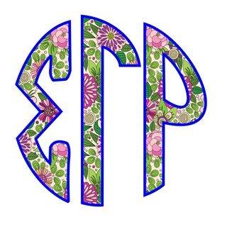 "Sigma Gamma Rho Floral Greek Monogram Sticker - 3"" Tall"