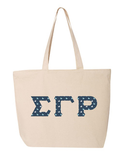 Sigma Gamma Rho Greek Letter Zipper Tote
