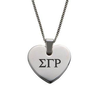 Sigma Gamma Rho Heart Shaped Pendant & Necklace